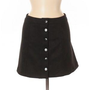 Black Suedette Button Up Skirt